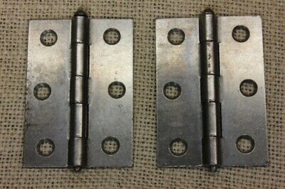 "2 Cabinet Door Hinges steel 1 5/8 x 2 3/8"" STANLEY vintage New Old Store Stock"
