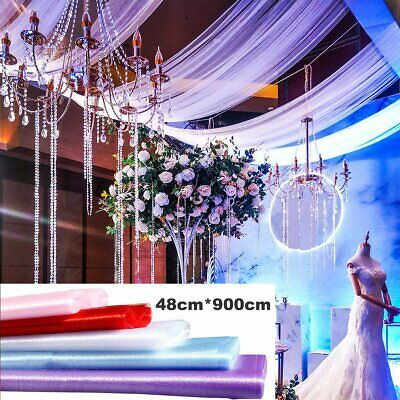 10M/20M/50M Top Table Chair Swags Sheer Organza Fabric Wedding Party Decoration