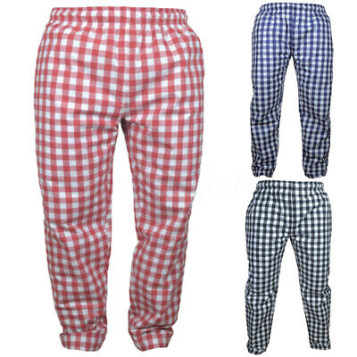 Men's Casual Restaurant Chef Waiter Trousers Pants Kitchen Check Trousers Pants