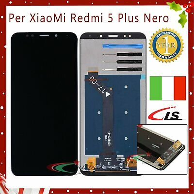 TOUCH SCREEN VETRO + LCD DISPLAY Per XIAOMI Redmi 5 Plus COMPLETO SCHERMO NERO