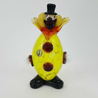 "Vtg Murano Clown Italy Venitian Italian Art Glass Figure Figurine 6.5"" Height"