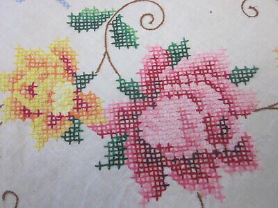Beautiful Vintage Hand Embroidered Floral Rectangular Linen Tablecloth