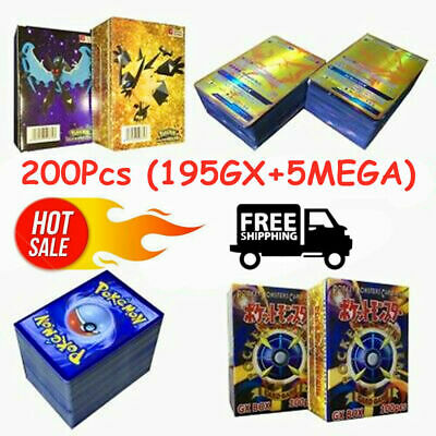 Hot 200pcs 195 GX + 5 MEGA Cards Holo Flash Trading Cards Bundle Mixed Lot 2019~