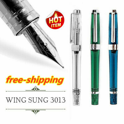 Wing Sung 3013 Vacuum Fountain Pen Paili 013 Resin Transparent Quality EF/F Nib!
