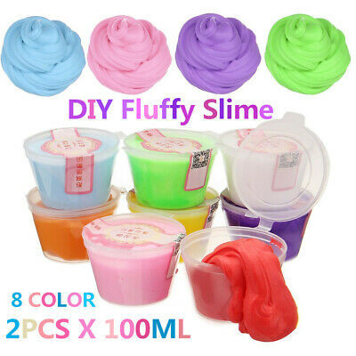 2X100ML Fluffy Floam Slime Putty Scented Stress Relief Plasticine Clay Kids Toy