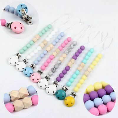 Baby Silicone Teether Beads Pacifier Chain Clip Teething Toy Dummy Chewable