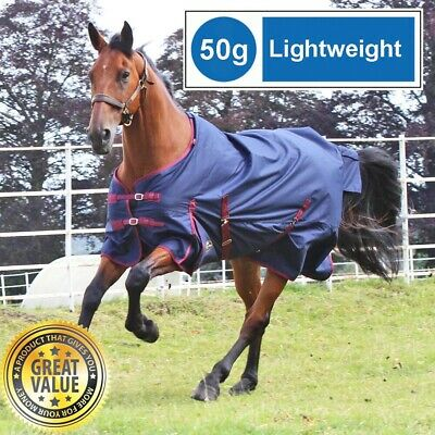 SALE RRP £44! Gallop Navy/Red 50g Lightweight Fill No Neck Outdoor Turnout Rug
