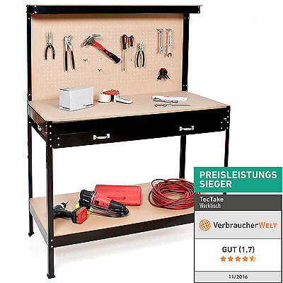 Heavy Duty Black Steel Garage Workbench Workshop Tool Box With Pegboard Drawers