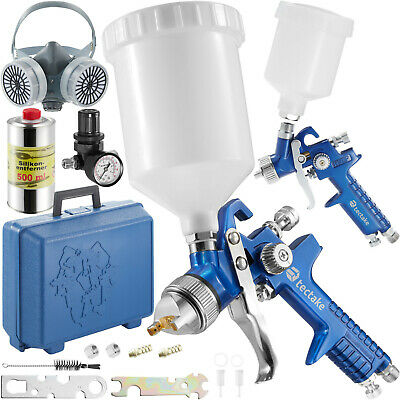 2x HVLP Air Spray Gun Set 1.0 + 1.7 Gravity Feed Protection Mask Silicon Remover