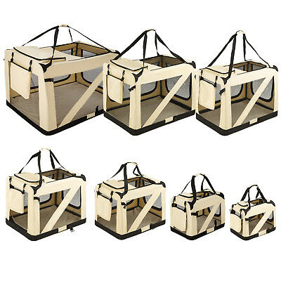 Portable folding dog cat pet cage transport crate car travel basket box S-XXXXL