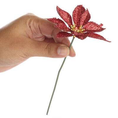 Group of 12 Christmas Red Glitter Artificial Poinsettia Stems