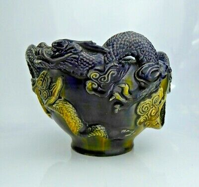 Japanese Antique Awaji Pottery Bowl / Incense Burner Double Dragon Exceptional