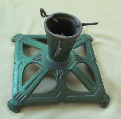 Antique cast iron Art Deco green gold Christmas tree stand