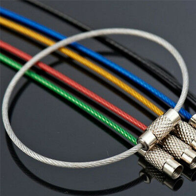 5PCS Stainless Steel Wire Keychain Cable Key Ring Chains Outdoor Hiking Pip Fd