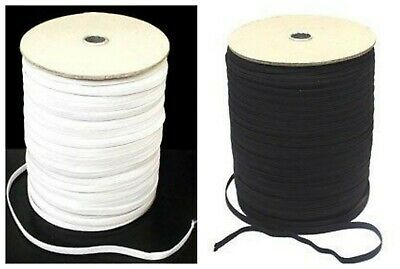 Quality 12 mm Wide Black or White Flat Woven Elastic Waistband Cuffs Dressmaking