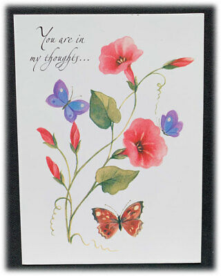 Vintage London Portfolio You Are In My Thoughts Butterfly Flowers Now Alway Card