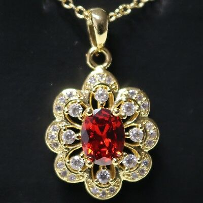 """Red Ruby AAA CZ Flower Pendant Necklace 18"""" Chain 14K Yellow Gold Plated Jewelry"""