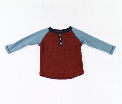 City Mouse NEW Red Blue Baby Boys Size 18-24 Months Ribbed Henley T-Shirt 173