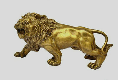 Collectible Brass Copper Handwork carved Lion statue
