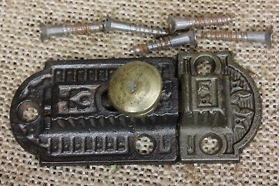 Cabinet catch Cupboard Latch BRASS knob old rustic iron vintage 2 3/4 x 1 1/4""