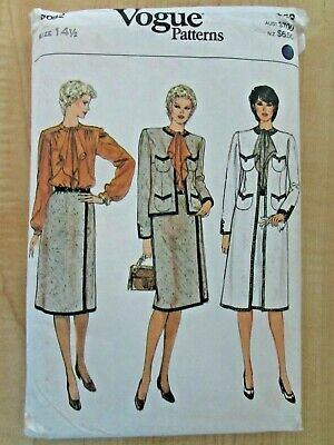 VOGUE PATTERN Jewel Neck JACKET/COAT, SKIRT Braid Trim, JABOT BLOUSE 14½  B 37