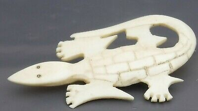Antique Hand Carved Bone Crocodile Brooch - Superb Detail, Highly Stylized