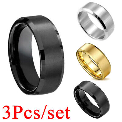 8mm Stainless Steel Ring Man Women Jewelry Band Black Silver Gold Blue Size 6-14