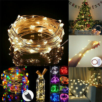 Christmas Fairy String Lights LED On Silver Copper Wire Holiday Bedroom Patio UK