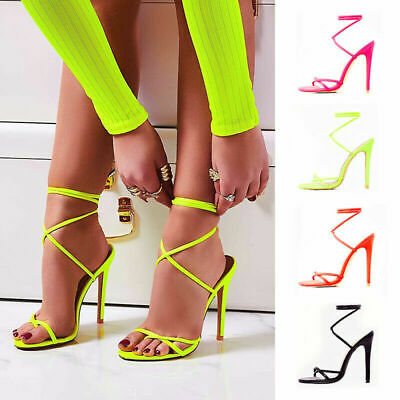 Sexy Womens Lace Up High Heel Party Sandals Flip Flops Strappy Mules Shoes Size