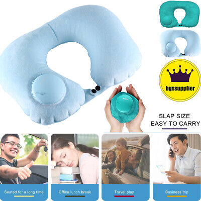 Travel Pillow Foldable Inflatable U-shaped Neck Rest Soft Airplane Air Cushion