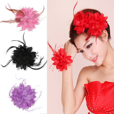 8 Colors Flower Feather Bead Corsage Hair Clips Fascinator Bridal Hairband Party