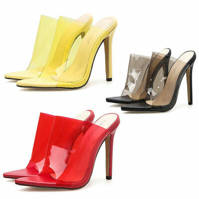 Women Ladies Slip On Perspex Mules Stiletto High Heel Sexy Peep Toe Sandal Party