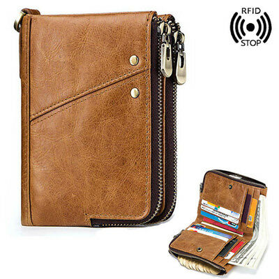 Mens RFID Small Wallet Genuine Leather Zip Around Purse Credit Card Coin Holder*