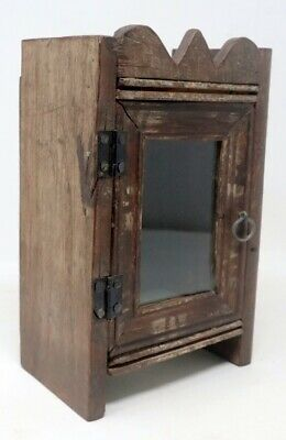 Antique Old Wooden Hand Crfated Wall Hanging Alarm Clock Case Box Collectible