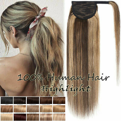 Real Soft Russian Thick Ponytail Clip In Remy Human Hair Extensions AU SALE Soft