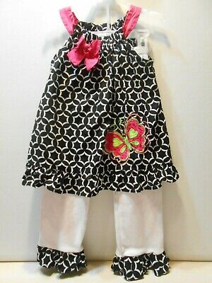 SIZE 4T Little Girl's 2 PC Summer Outfit Rare Too Black & White Pants W/Top