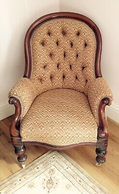 Antique, Victorian, Mahogany,  Spoon Back, Sprung , Deep Buttoned  Armchair