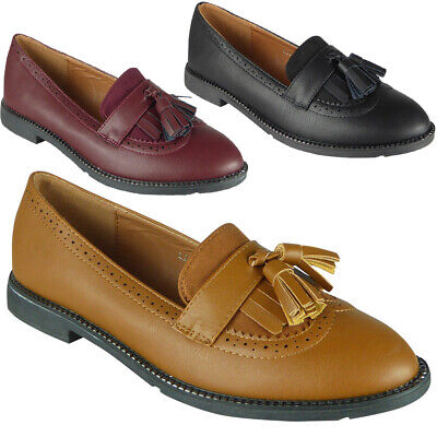 Womens Ladies Tassle Loafers Brogue Slip On Flats Work Office School Shoes Size