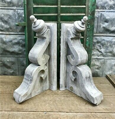 Large Pair Rustic Corbels, Corbel Shelf Brackets, Distressed Farmhouse Corbels