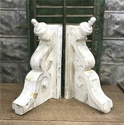 Large White Farmhouse Corbels, Rustic Wood Corbels Shelf Brackets, Handmade