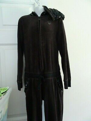 Justice Girl's Size 10 Black Velour Sequined Hooded Jump Suit-Zip Front-Sparkle