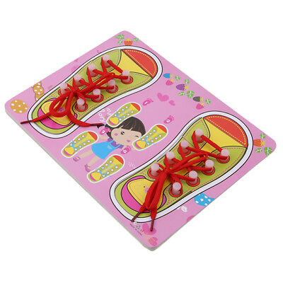 Wooden Lacing Shoe Learn to Tie Laces Kids Early Educational Skills Toys DP