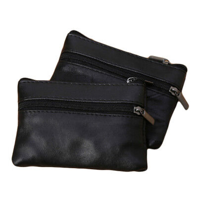 Unisex PU Leather Small Coin Key Card Holder Zip Wallet Pouch Mini Purse Bag DP