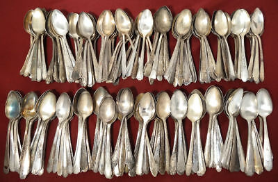 Ornate/Victorian Silverplate Flatware 150 Assorted Oval Soup Spoons Craft Lot