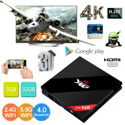 H96 Pro Plus 4K HD TV Box S912 Octa Core 3+32G BT4.0 2.4G/5G WiFi Android Player