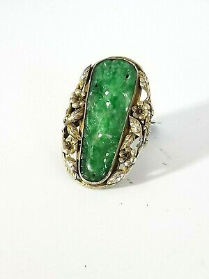 Antique Chinese Export Carved Rich Spinach Green Jade Silver Ring *c.1900*