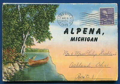 Alpena Michigan mi high school Hospital Hubbard lake postcard folder