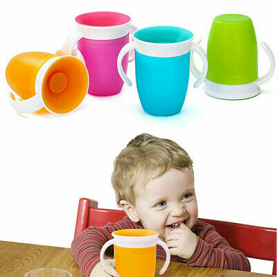 Non Spill Chew Proof Miracle Toddler Baby Training Sippy 360 Degree Trainer Cups