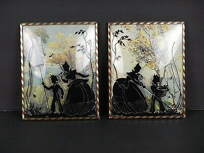 """2 Vintage Reverse Painted Silhouette Paintings on Framed Bubble Glass 4"""" x 5"""""""