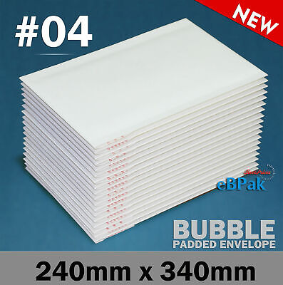 200x Bubble Mailer #04 - Plain White - 230x350mm Cushioned Envelope Padded Bag